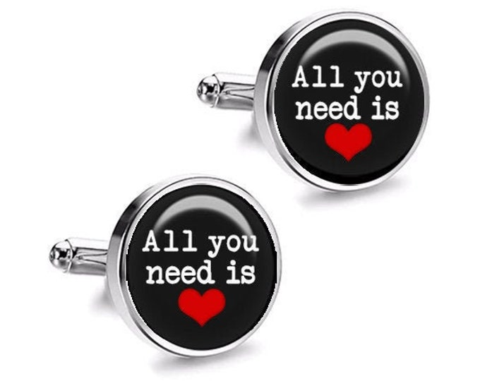 All You Need is LOVE Grooms Wedding Cuff Links, Gift for Him, Grooms Party Cufflinks, Fiance Gift, Beatles, Wedding Cufflinks, Best Man Gift