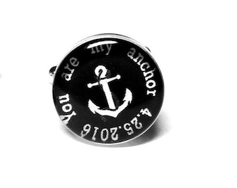 Nautical Anchor Custom Personalized Wedding Cufflinks, Fiance Gift, Anniversary Gift, Grooms Gift, Mens Accessories