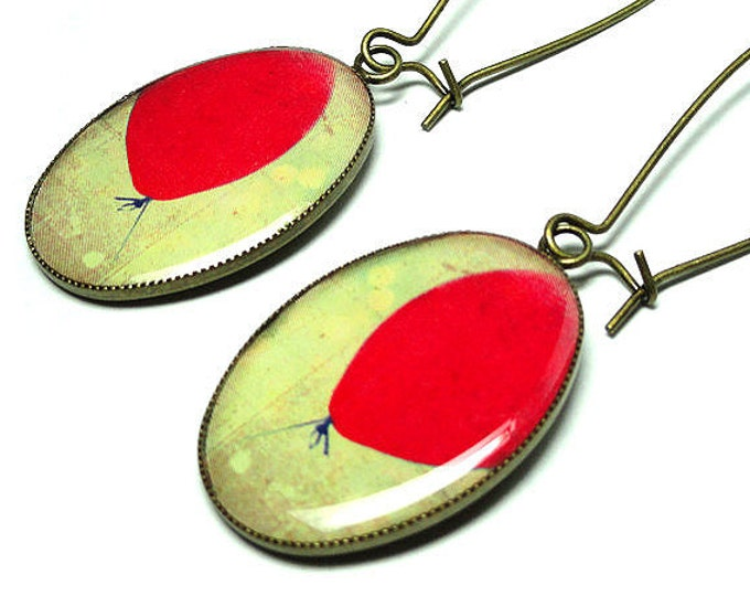 Red Balloon Earrings, Dangle Earrings, Handmade Jewelry, Red Earrings, Balloon Jewelry