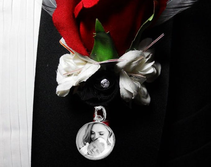 Custom Photo Boutonniere Wedding Pin, Mens Lapel Pin, Personalized Memorial Picture Brooch, Grooms Gift, Tuxedo Accessory, Wedding Accessory