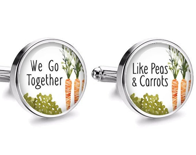 Rustic Wedding Cufflinks, Peas & Carrots Cufflinks, Valentines Day Gift, Grooms Gift, Anniversary Gift, Fiance Wedding Gift, Gift for him,