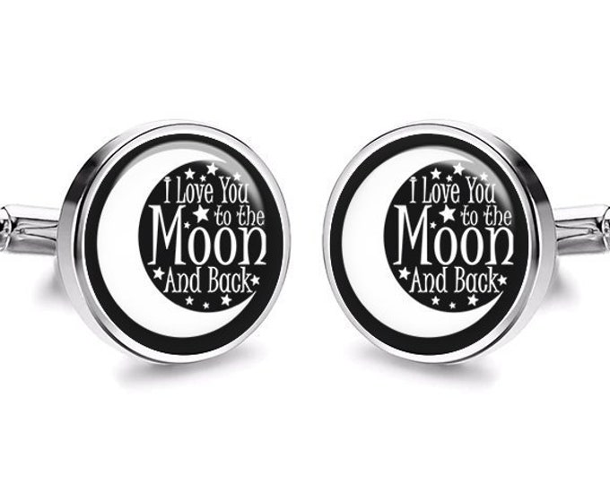 I Love You to the Moon and Back Cufflinks, Grooms Wedding Cuff Links, Anniversary Gift, Fiance Gift, Gift for Him, Valentines Day Gift