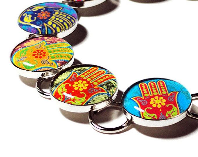 Hamsa Hand Namaste Yoga Bracelet, Hand of Fatima Jewelry, Handmade Hamsa Namaste Bracelet, OM Jewelry, Meditation Bracelet, Religious