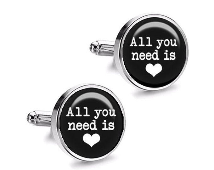 All You Need is LOVE Wedding Cufflinks, Grooms Cufflinks, Fiance Gift, Wedding Gift for Him, Beatles, Wedding Cufflinks
