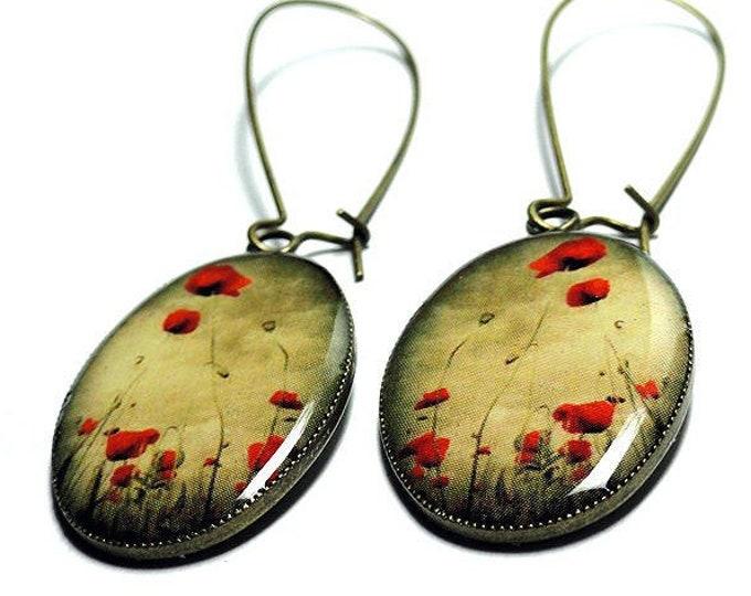 Red Poppy Flower Earrings, Handmade, Resin Earrings, Dangle Earrings, Resin Jewelry, Red Poppy Flower Jewelry, Red Poppies, Red Earrings