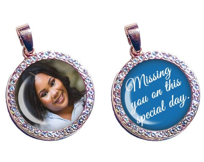 Crystal Wedding Shoe Photo Charms, Rose Gold or Silver Brides Gift, Something Blue, Personalized Bridal Gift, Custom Memorial Picture Charms