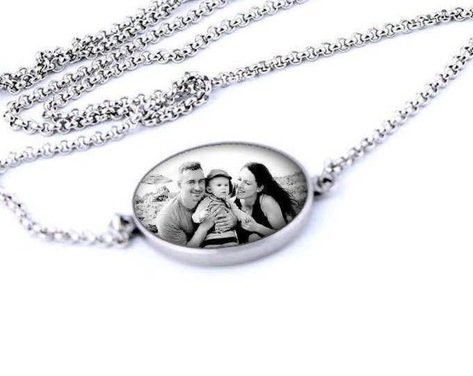 Adjustable Personalized Necklace, Stainless Steel Custom Birthday Gift for Her, Photo Wedding Jewelry, Picture Gift for Mom, Anniversary