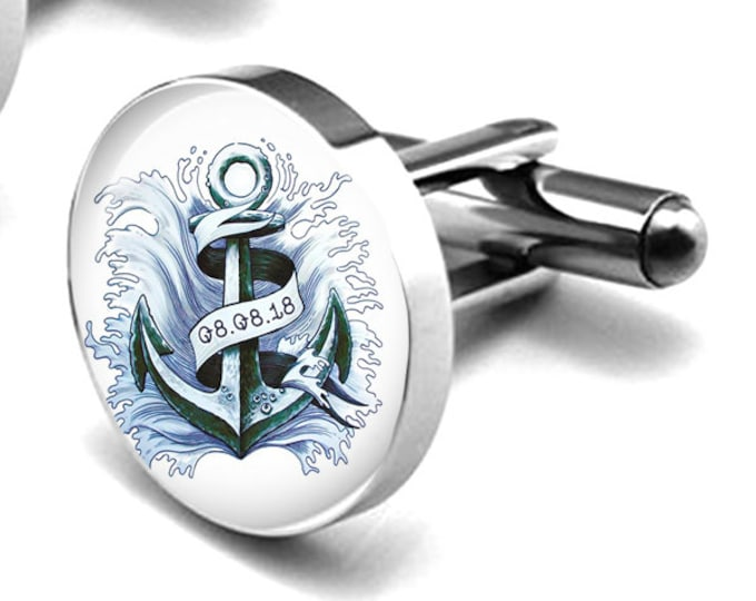 Anchor Cufflinks, Nautical Wedding Cuff Links, Something Blue Gift for Him, Custom Grooms Cufflinks, Gift for Him, Groomsmen Gifts