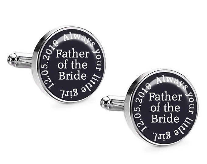Father of the Bride Wedding Cufflinks, Personalized Gift for Dad, Custom Cufflinks, Wedding Party, Wedding Gift for Him