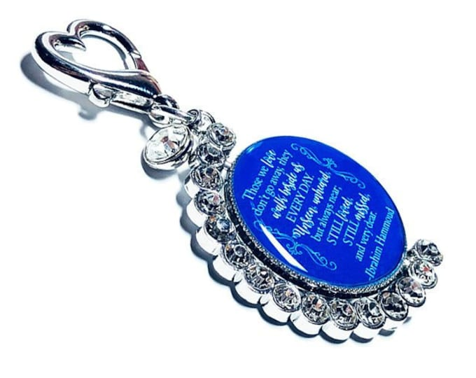 Wedding Bouquet Photo Charm, Something Blue Crystal, Personalized Brides Bouquet Memorial Charm, Custom Bridal Brooch, Spinning Memory Charm