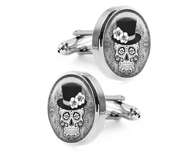 Sugar Skull Cufflinks, Groomsmen Gifts, Fiancé Gift, Day of the Dead Wedding Cuff Links, Macabre, Grooms Party Gifts, Mens Accessories