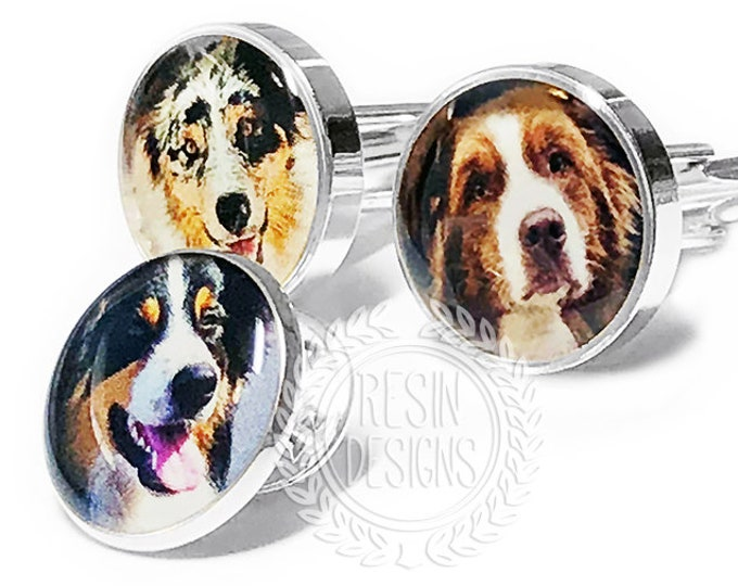 Custom Pet Photo Cufflinks, Personalized Wedding Gift for Him, Dog or Cat, Anniversary, Fathers Day, Birthday Gift