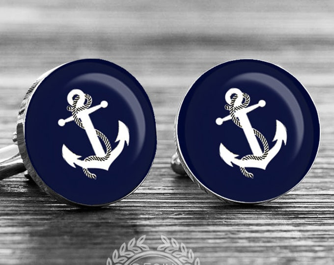 Anchor Cuff Links, Navy Cufflinks, Grooms Gift, Nautical Beach Wedding, Fiance Gift, Anniversary Gift, Custom Cufflinks