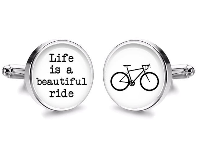 Bicycle Wedding Cufflinks, Fiance Gift, Grooms Gift, Life is a Beautiful Ride, Handmade Cufflinks, Gift for Him, Anniversary Gift