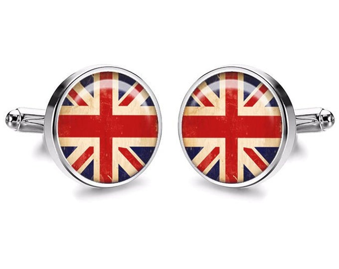 English Flag Cufflinks, Wedding Gift, American Flag, French, Groomsmen Gifts, Fiance Gift, Australia, German, Italian, Chinese, Gift for Him