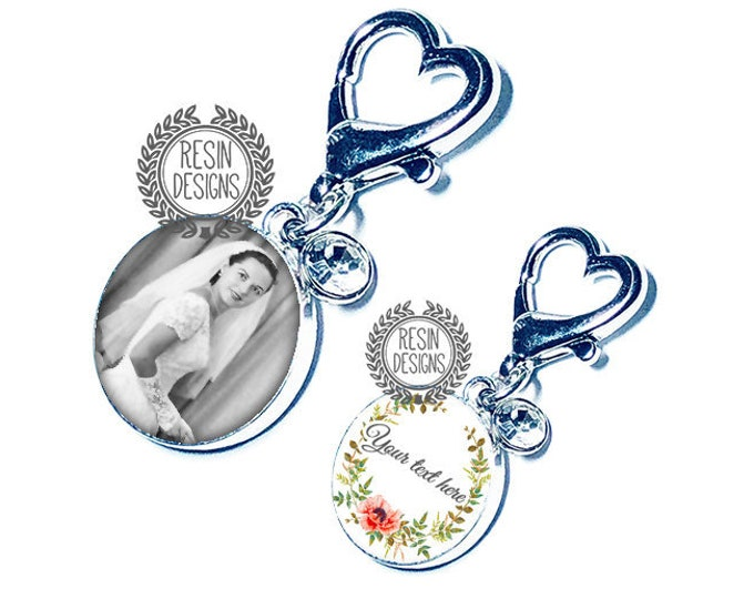 Wedding Bouquet Custom Photo Charm, Personalized Picture Charm, Something Blue Gift for the Bride, Bouquet Brooch, Bridal Bouquet Pin