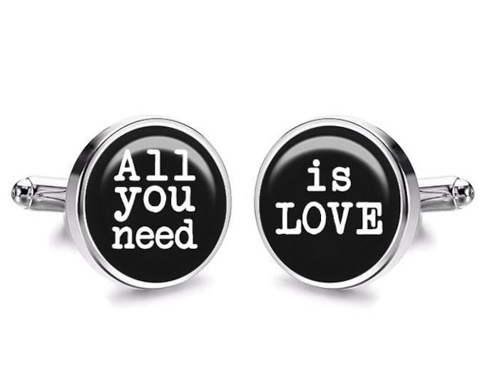All You Need is LOVE Wedding Cufflinks, Wedding Gift for Him, Beatles Gift, Fiance Cufflinks, Grooms Wedding Cufflinks, Gift for him
