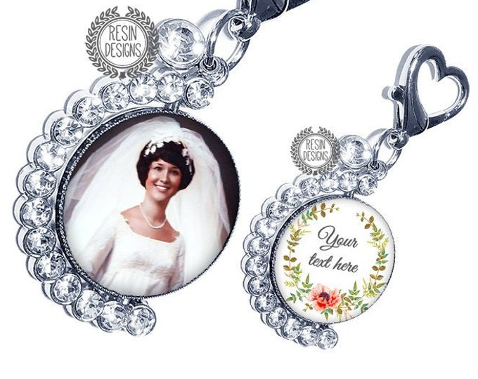 Crystal Wedding Bouquet Custom Photo Charm, Personalized Picture Charm, Something Blue Gift for the Bride, Wedding Bouquet, Bridal Brooch