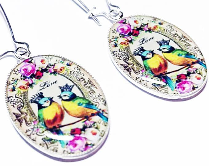 Bird Earrings, Birds in Crowns Jewelry, Dangle Earrings, Blue Yellow Pink, Roses, Whimsical Flowers, Gift for Her