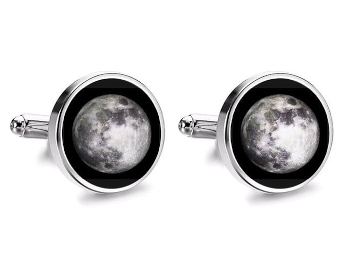 Full Moon Cufflinks, Moon Phase Cufflinks, Handmade Resin Cufflinks, Mens Accessories, Black Cufflinks, Space Gift, Love you to the Moon