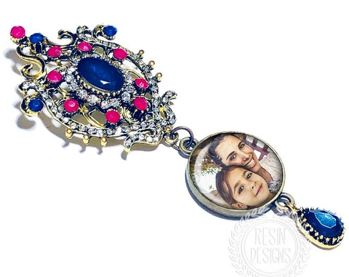 Something Blue Wedding Bouquet Charm, Custom Photo Memory Brooch, Personalized Memorial Bouquet Bridal Charm,  Bridal Bouquet Pin