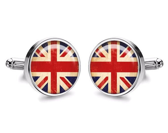 English Flag Cufflinks, Gift for the Groom, Union Jack Flag, UK Brexit Gift, Handmade Resin Cufflinks, Mens Accessories, England Gift