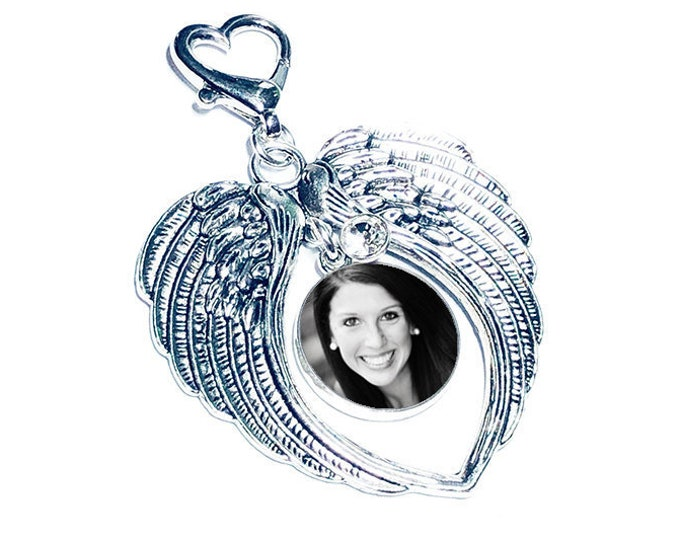 Crystal Wedding Bouquet Charm, Personalized Photo Memorial Bridal Charm, Custom Crystal Memory Brooch, Angel Wings Memory Charm, Brides Gift