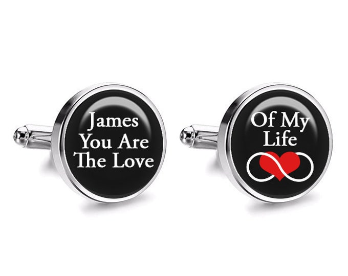 Infinity Love Wedding Cufflinks, Gift for Him, Grooms Cufflinks, Fiance Cufflinks, Gifts under 30, Mens Accessories, Anniversary Gift