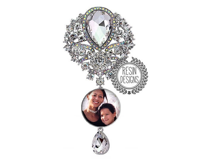 Crystal Wedding Bouquet Charm, Custom Photo Memory Charm, Personalized Memorial Brooch, Rhinestone Bridal Bouquet Picture Pin, Something New