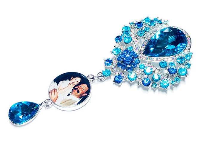 Something Blue Crystal Wedding Bouquet Charm, Custom Photo Memory Charm, Personalized Memorial Brooch, Rhinestone Bridal Bouquet Picture Pin