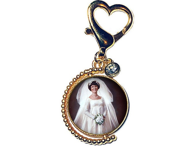 Gold Spinning Crystal Wedding Bouquet Picture Charm, Photo Memory Charm, Bridal Bouquet Brooch, Personalized Memory Charm, Memorial Brooch