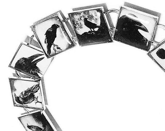Raven Bracelet, Crow Jewelry, Black, Birds, Edgar Allan Poe, Resin Bracelet, Goth Jewelry, Dangle Earrings, Halloween, Poe, Bird, Black Crow