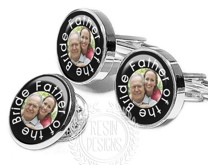 Father of the Groom Custom Cufflinks Lapel Pin, Father of the Bride Cufflinks, Personalized Cufflinks, Wedding Gift for Him