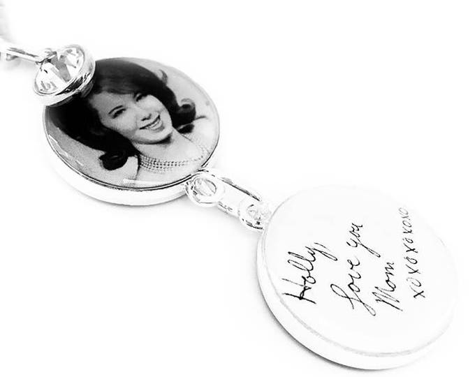 Custom Handwriting and Photo Wedding Memorial Bouquet Charm, Personalized Memorial Brooch, Sixpence, Gift for the Bride