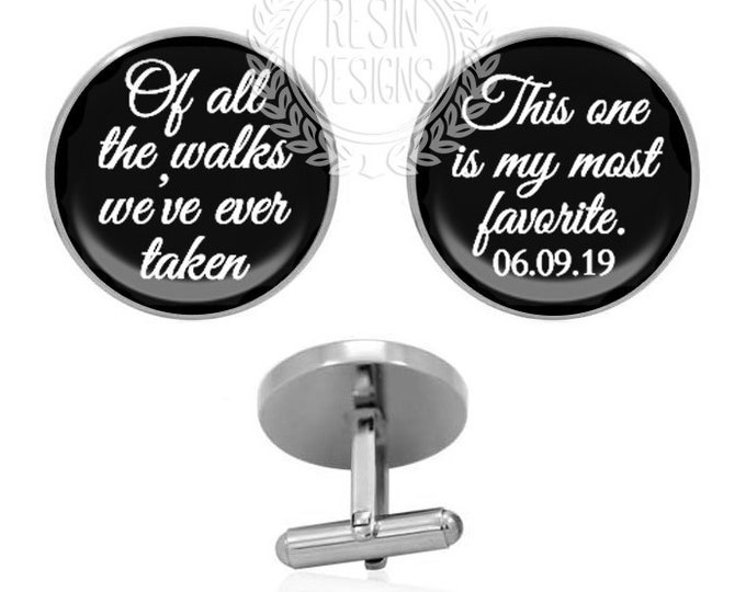 Custom Wedding Cufflinks, Date Cufflinks, Personalized Gift, Fiance Cufflinks, Gift for Him, Grooms Gift for Him, Father of the Bride