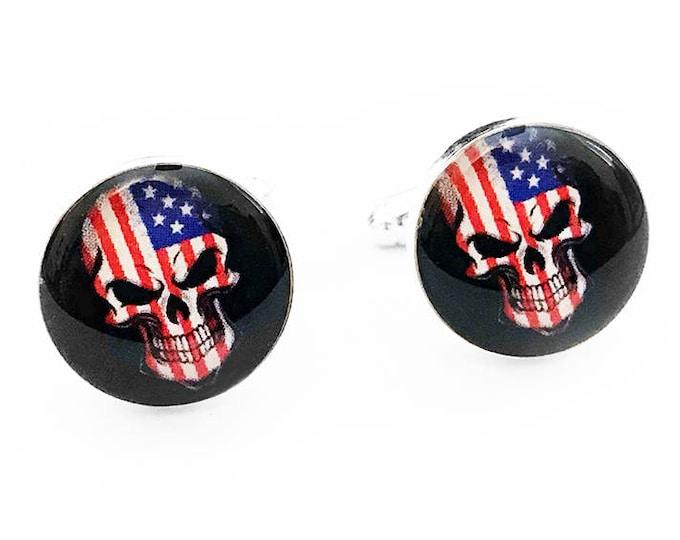 American Flag Skull Cufflinks, Day of the Dead, USA Skull, Wedding Cufflinks, Fiance Gift, Mens Accessories, Handmade Cufflinks, Patriotic