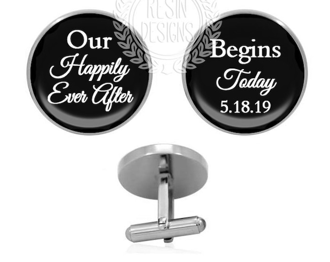Custom Date Wedding Cufflinks, Happily Ever After Cufflinks, Personalized Gift, Fiance Cuff Links, Grooms Gift for Him, Gifts under 30