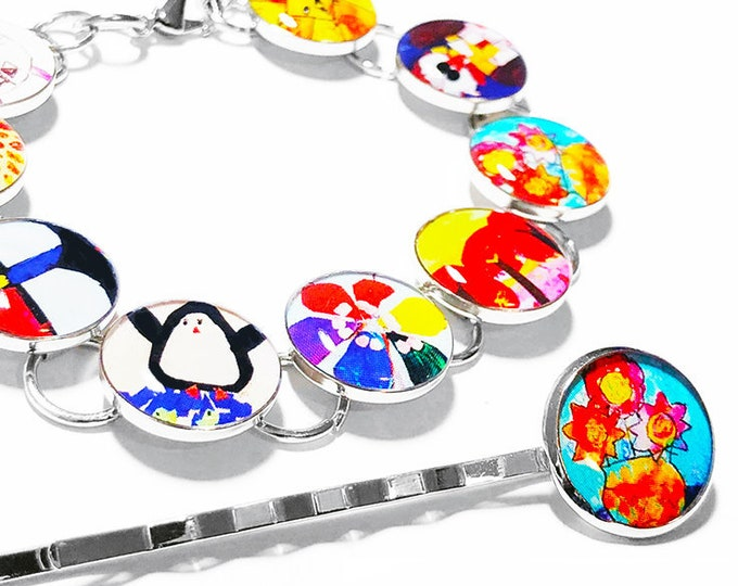 Kids Art Bracelet, Childrens Artwork Custom Photo Bracelet, Mothers Day Gift, Birthday Gift, Personalized Gift for Mom, Childs Art