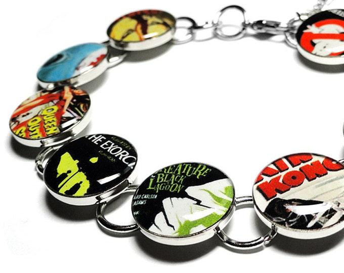 Halloween Bracelet, Scary Movie Jewelry, Handmade Bracelet, Retro Vintage Movie Bracelet, Goth Jewelry, Movie Poster Bracelet