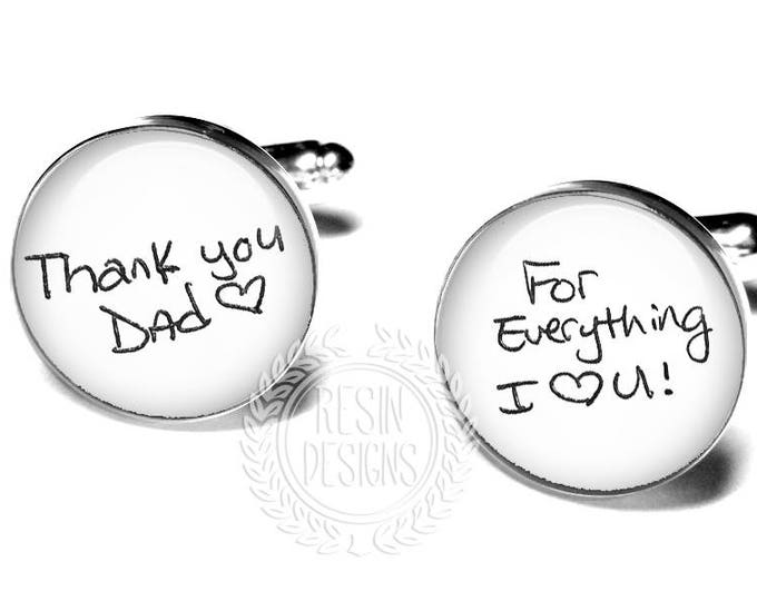 Personalized Cufflinks, Custom Handwriting Cufflinks, Father of the Bride Gift, Gift for Dad, Wedding Cufflinks for Him, Wedding Gift
