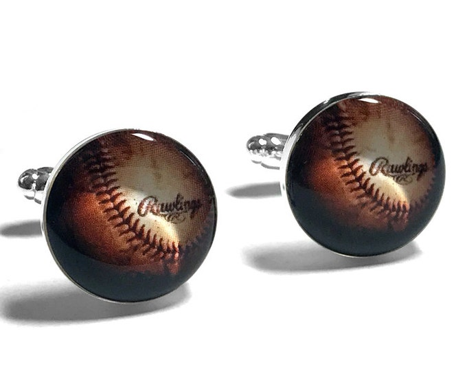 Baseball Cufflinks, Sports Cufflinks, Sports Fan, Fiance Gift, Gift for Dad, Fathers Day Gift, Resin Cufflinks, Grooms Gift, Gift for Him