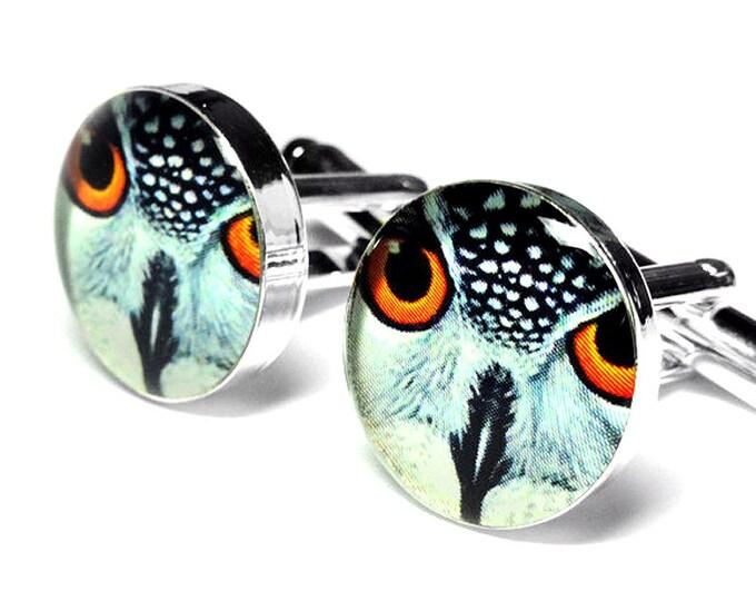 Owl Cufflinks, Mens Cufflinks, Vintage Illustration, Accessories, Bird, Handmade, Gift for Him, Birds, Mens Jewelry, Owl, Cufflinks