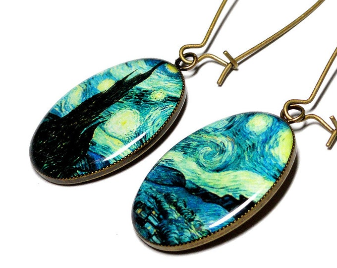 Starry Night Dangle Earrings, Vincent Van Gogh Jewelry, Art Jewelry, Handmade Resin Earrings, Gifts Under 25, Birthday Gift for Her