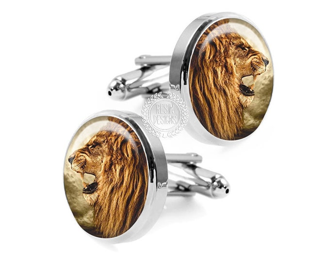 Lion Cufflinks, Big Cat Cuff Links, Spirit Animal Jewelry, Gift for Him, Resin Cuff Links, Handmade Cufflinks, Christmas Gift for Him