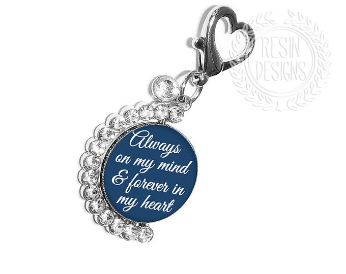 Something Blue Custom Photo Bouquet Charm, Wedding Memorial Pin, Personalized Spinning Memory Picture Brooch, Picture Bouquet Charm