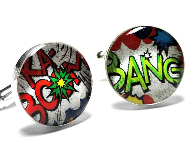 Comic Book Superhero Cufflinks, Shout Outs, Vintage Retro Style, Handmade, Resin Cufflinks, Mens Accessories, Gifts for Him