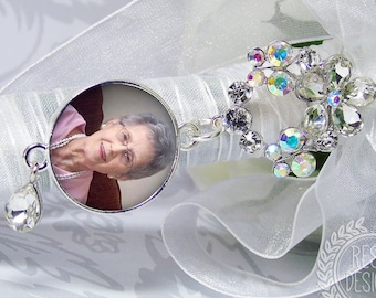 Custom Photo Memory Charm, Personalized Memorial Bouquet Bridal Charm,  Wedding Brooch, Bridal Bouquet Pin