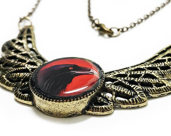 Black Raven Necklace, Handmade Black Crow Jewelry, Halloween Necklace, Gothic Jewelery, Bird Necklace, Red Necklace, Gifts for her