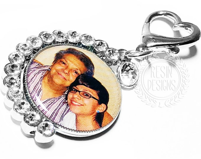 Custom Bridal Bouquet Memorial Charm, Personalized Wedding Brooch, Spinning Photo Memory Charm, - Those who walk with us don't go away