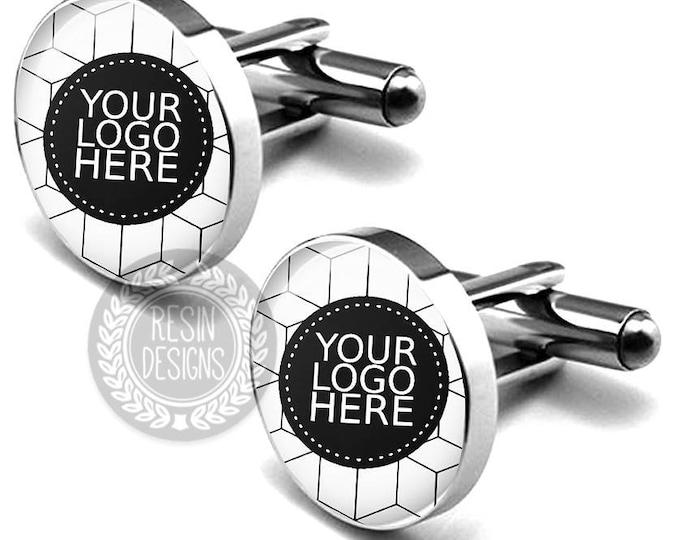 Company Logo Custom Photo Cufflinks, Personalized Business Logo Cufflinks, Picture Cufflinks, Logo Gift, Personalized Boss Gift, Christmas